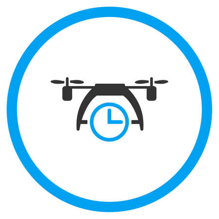 clock radio: Air Drone Clock vector icon. Style is bicolor flat circled symbol, blue and gray colors, rounded angles, white background.