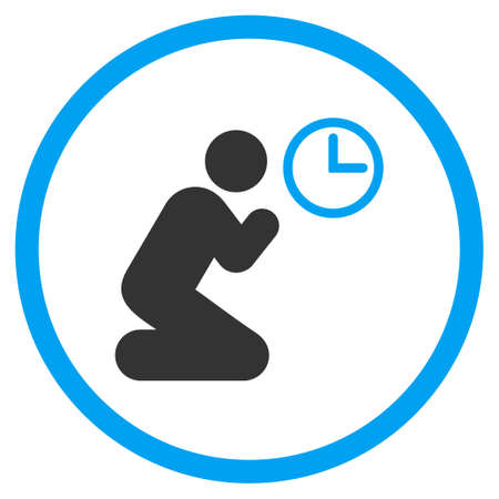 pictogram people: Pray Time vector icon. Style is bicolor flat circled symbol, blue and gray colors, rounded angles, white background. Illustration