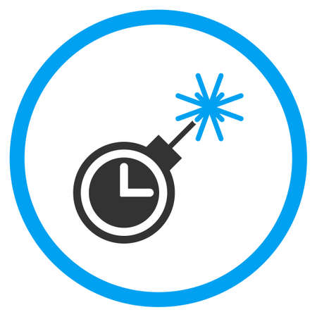 detonate: Time Bomb vector icon. Style is bicolor flat circled symbol, blue and gray colors, rounded angles, white background.