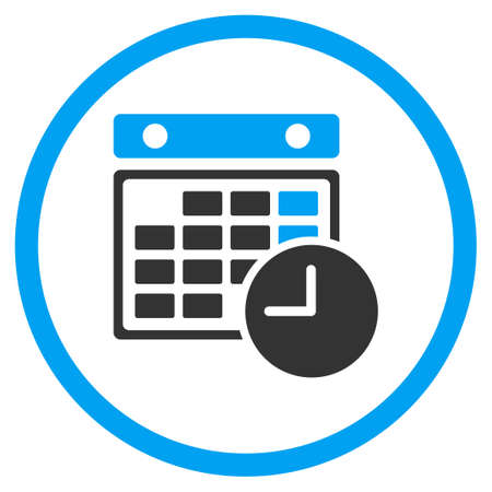 time table: Time Table glyph icon. Style is bicolor flat circled symbol, blue and gray colors, rounded angles, white background.
