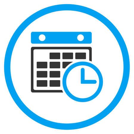 cronograma: glifo icono de calendario. El estilo es s�mbolo de un c�rculo bicolor plana, colores azul y gris, �ngulos redondeados, fondo blanco.