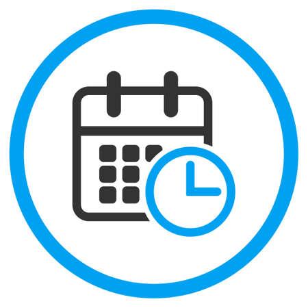 cronograma: glifo icono de calendario. El estilo es símbolo de un círculo bicolor plana, colores azul y gris, ángulos redondeados, fondo blanco.