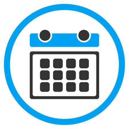 syllabus: Calendar Month vector icon. Style is bicolor flat circled symbol, blue and gray colors, rounded angles, white background.