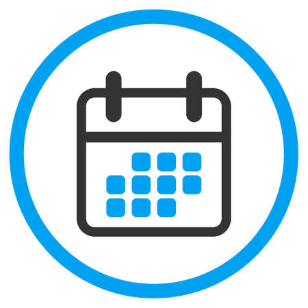 syllabus: Appointment Month vector icon. Style is bicolor flat circled symbol, blue and gray colors, rounded angles, white background.