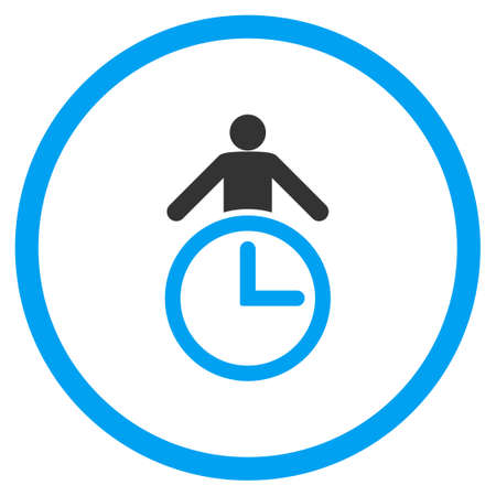 temporary workers: Time Manager vector icon. Style is bicolor flat circled symbol, blue and gray colors, rounded angles, white background. Illustration