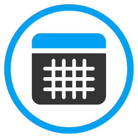 syllabus: Syllabus glyph icon. Style is bicolor flat circled symbol, blue and gray colors, rounded angles, white background.