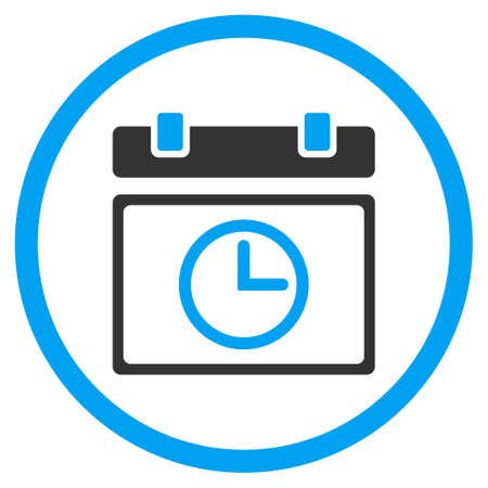 timed: Date Time glyph icon. Style is bicolor flat circled symbol, blue and gray colors, rounded angles, white background. Stock Photo