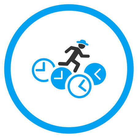 timed: Gentleman Running Over Clocks glyph icon. Style is bicolor flat circled symbol, blue and gray colors, rounded angles, white background. Stock Photo