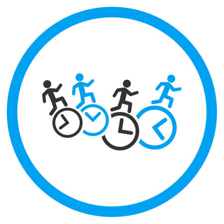 profile measurement: Men Running Over Clocks glyph icon. Style is bicolor flat circled symbol, blue and gray colors, rounded angles, white background.