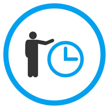 show time: Time Show glyph icon. Style is bicolor flat circled symbol, blue and gray colors, rounded angles, white background. Stock Photo