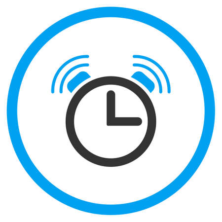 circled: Sirene Clock vector icon. Style is bicolor flat circled symbol, blue and gray colors, rounded angles, white background.
