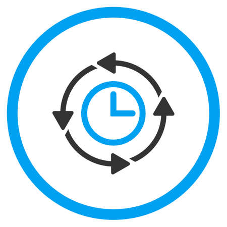 circled: Wayback Clock vector icon. Style is bicolor flat circled symbol, blue and gray colors, rounded angles, white background.