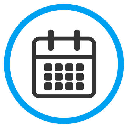 calendar icon: Calendar glyph icon. Style is bicolor flat circled symbol, blue and gray colors, rounded angles, white background.
