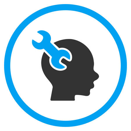 hardware configuration: Brain Service vector icon. Style is bicolor flat circled symbol, blue and gray colors, rounded angles, white background.