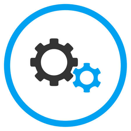 circled: Gears vector icon. Style is bicolor flat circled symbol, blue and gray colors, rounded angles, white background. Illustration