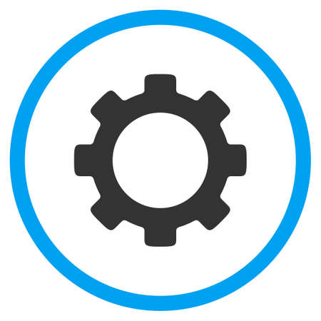 config: Gear vector icon. Style is bicolor flat circled symbol, blue and gray colors, rounded angles, white background.