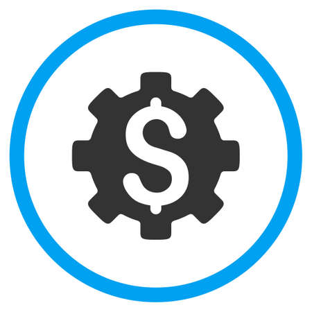 cost: Development Cost vector icon. Style is bicolor flat circled symbol, blue and gray colors, rounded angles, white background. Illustration