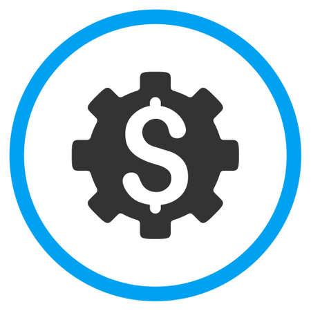 Entwicklungskosten Vektor-Symbol. Der Stil ist bicolor flach eingekreiste Symbol, blau und grau Farben, abgerundete Ecken, weißen Hintergrund.
