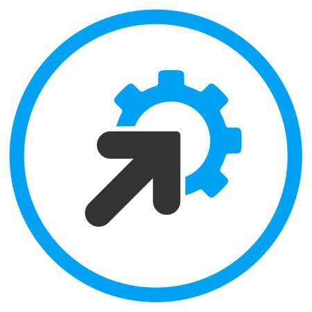 La integración del vector del icono. El estilo es símbolo de un círculo bicolor plana, colores azul y gris, ángulos redondeados, fondo blanco.