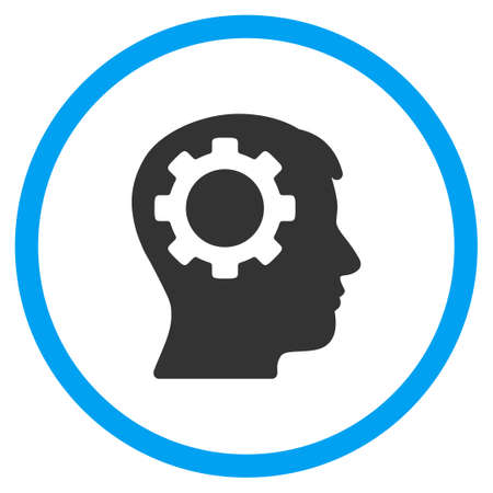 intellect: Intellect vector icon. Style is bicolor flat circled symbol, blue and gray colors, rounded angles, white background.