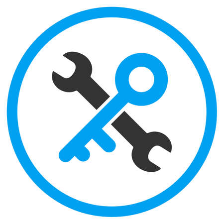 toolbox icon round. open toolbox key tools vector icon style is bicolor flat circled symbol blue round