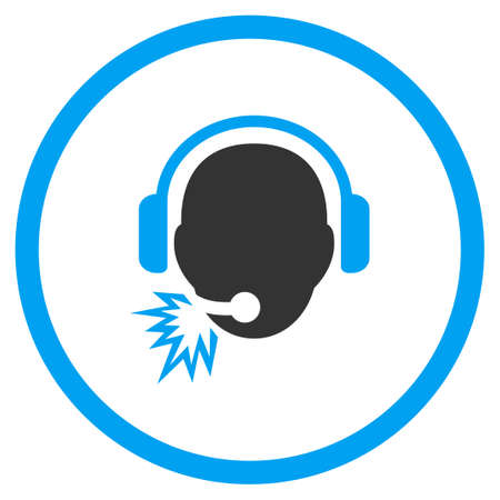 head phones: Operator Message vector icon. Style is bicolor flat circled symbol, blue and gray colors, rounded angles, white background.