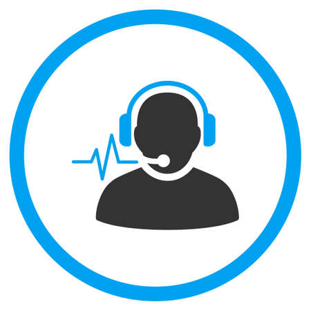 head phones: Operator Signal vector icon. Style is bicolor flat circled symbol, blue and gray colors, rounded angles, white background.