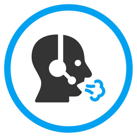 head phones: Operator Speech vector icon. Style is bicolor flat circled symbol, blue and gray colors, rounded angles, white background.