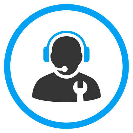 head phones: Service Operator vector icon. Style is bicolor flat circled symbol, blue and gray colors, rounded angles, white background. Illustration