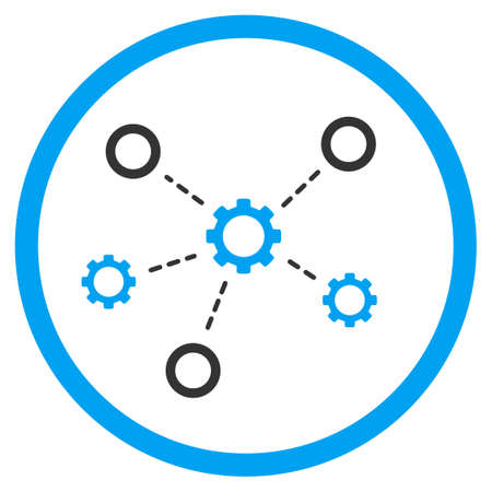 gear box: Service Relations vector icon. Style is bicolor flat circled symbol, blue and gray colors, rounded angles, white background.