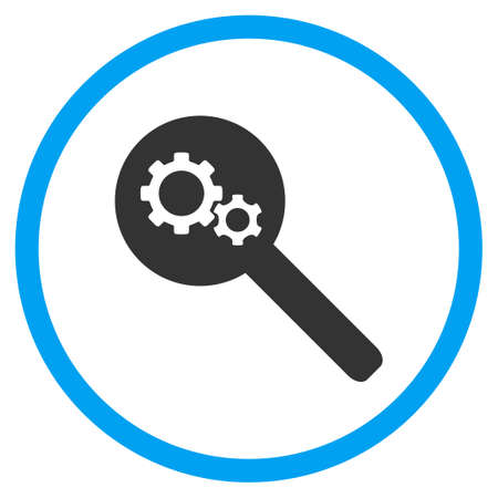 gear box: Search Tools vector icon. Style is bicolor flat circled symbol, blue and gray colors, rounded angles, white background.