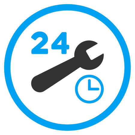 nonstop: Service Hours vector icon. Style is bicolor flat circled symbol, blue and gray colors, rounded angles, white background.