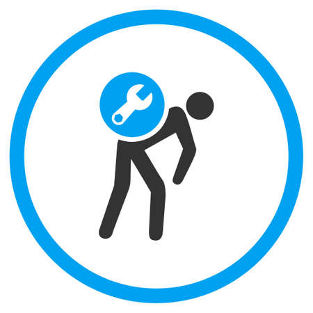 setup man: Service Courier vector icon. Style is bicolor flat circled symbol, blue and gray colors, rounded angles, white background.