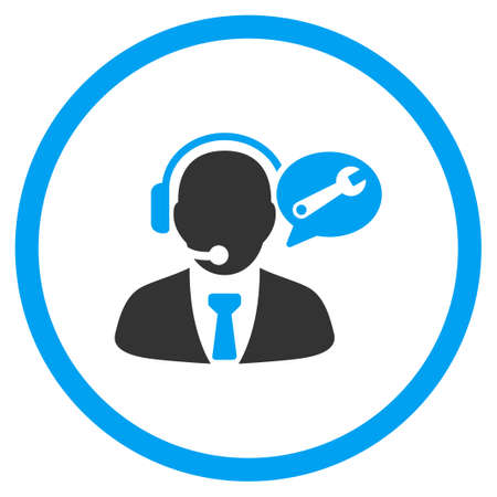 setup man: Service Manager Message vector icon. Style is bicolor flat circled symbol, blue and gray colors, rounded angles, white background.