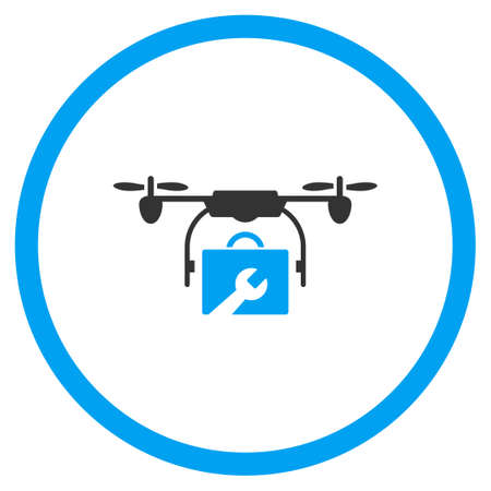 hardware configuration: Service Drone vector icon. Style is bicolor flat circled symbol, blue and gray colors, rounded angles, white background.