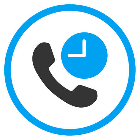 circled: Phone Time vector icon. Style is bicolor flat circled symbol, blue and gray colors, rounded angles, white background.