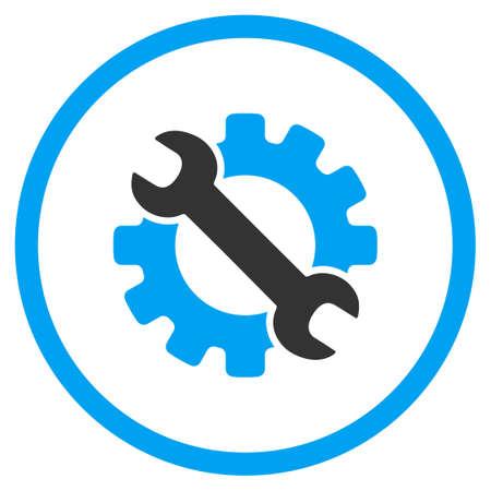 Service Tools vector icon. Stijl is bicolor vlak omcirkeld symbool, blauwe en grijze kleuren, afgeronde hoeken, een witte achtergrond.