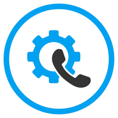 configuration: Phone Configuration vector icon. Style is bicolor flat circled symbol, blue and gray colors, rounded angles, white background.