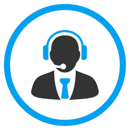 callcenter: Support Manager vector icon. Style is bicolor flat circled symbol, blue and gray colors, rounded angles, white background. Illustration