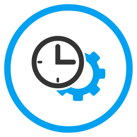 schedule system: Time Setup vector icon. Style is bicolor flat circled symbol, blue and gray colors, rounded angles, white background.
