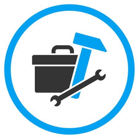 the case selected: Toolbox vector icon. Style is bicolor flat circled symbol, blue and gray colors, rounded angles, white background.