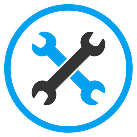 hardware configuration: Wrenches vector icon. Style is bicolor flat circled symbol, blue and gray colors, rounded angles, white background.
