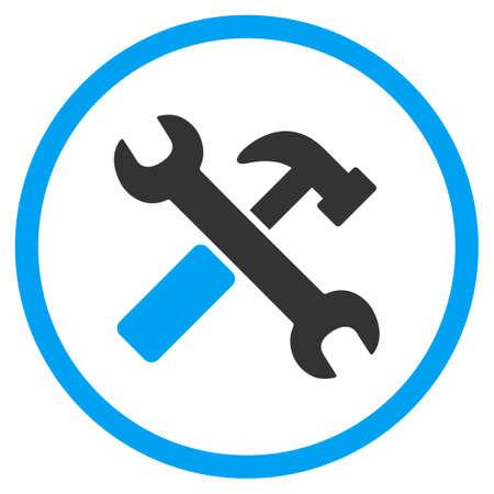 martillo: Martillo y el icono de la llave glifo. El estilo es s�mbolo de un c�rculo bicolor plana, colores azul y gris, �ngulos redondeados, fondo blanco. Foto de archivo