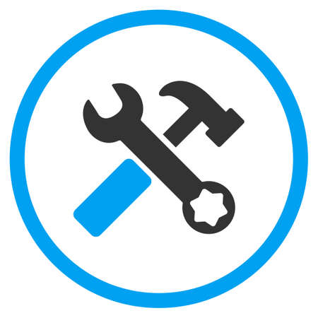 hardware configuration: Hammer And Wrench glyph icon. Style is bicolor flat circled symbol, blue and gray colors, rounded angles, white background. Stock Photo