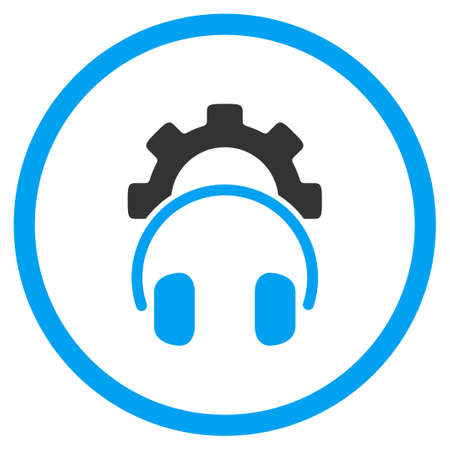 configuration: Headphones Configuration glyph icon. Style is bicolor flat circled symbol, blue and gray colors, rounded angles, white background.