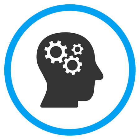 intellect: Intellect glyph icon. Style is bicolor flat circled symbol, blue and gray colors, rounded angles, white background.