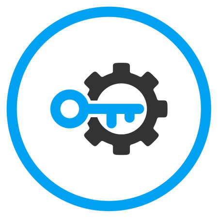 circled: Key Options glyph icon. Style is bicolor flat circled symbol, blue and gray colors, rounded angles, white background.