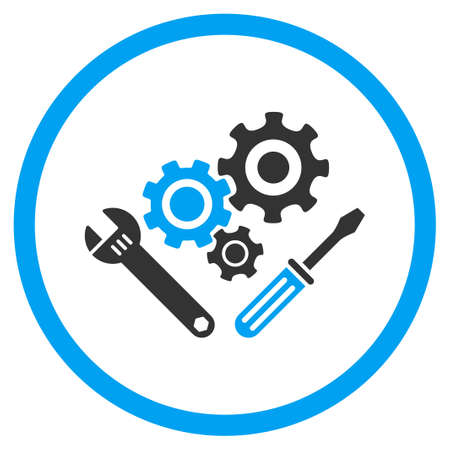gear box: Mechanics Tools glyph icon. Style is bicolor flat circled symbol, blue and gray colors, rounded angles, white background.