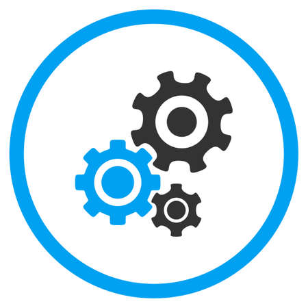 config: Mechanism glyph icon. Style is bicolor flat circled symbol, blue and gray colors, rounded angles, white background.