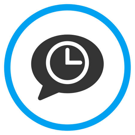 circled: Message Time glyph icon. Style is bicolor flat circled symbol, blue and gray colors, rounded angles, white background.